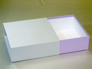 スリーブ式洋菓子(焼き菓子)紙箱(紫、オープン時)