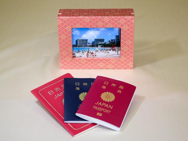 想い出のパスポート Box ~IC/非ICパスポート兼用(金襴)~ 「第75回東京ギフトショー」出展商品(写真ディスプレー時)