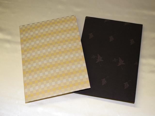 書類・図面ケース(A4サイズ ベージュ、こげ茶:金襴緞子)(外観表)