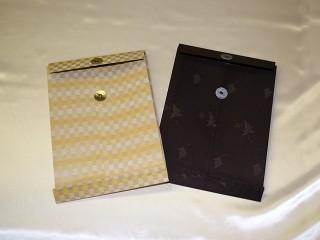 書類・図面ケース(A4サイズ ベージュ、こげ茶:金襴緞子)(外観裏)