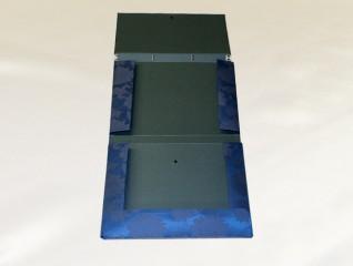 書類・図面ケース[A3 紺:牡丹:ボタン:金襴](構造:内側)